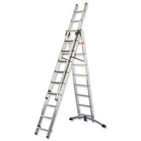 hailo profistep combi ladder 3 section capacity 150kg rungs 2x9 and 1x8 for ref 9309 50. Black Bedroom Furniture Sets. Home Design Ideas