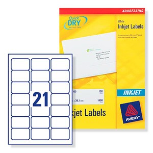 avery quick dry addressing labels inkjet 21 per sheet 63 5x38 1mm